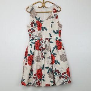 MODCLOTH Floral V-neck Fit & Flare Dress Sz Large